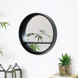 Round Black Mirrored Shelf Unit