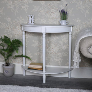 Antique White Half Moon Console Table
