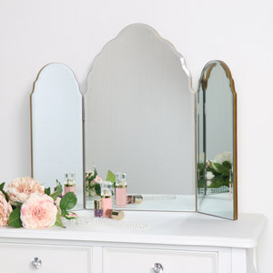 Antique Gold Arched Triple Vanity Mirror 60cm x 72cm