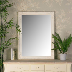 Large Ornate Cream Wall Mirror 62cm x82cm