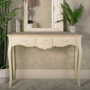 Belfort Range - Cream Three Drawer Console Table