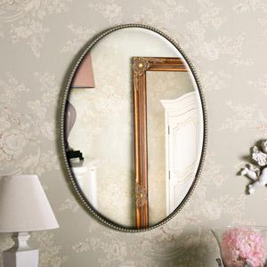 Silver Oval Wall Mirror 48cm x 68cm