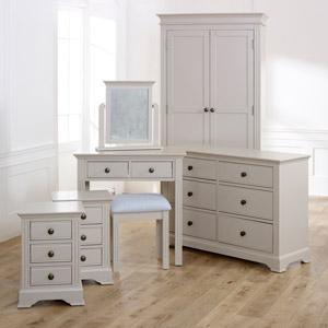 Bedroom Furniture, Wardrobe, Large Chest of Drawers, Dressing Table Set & Bedside Tables - Davenport Taupe-Grey Range
