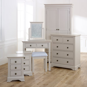 Bedroom Furniture, Wardrobe, Chest of Drawers, Bedside Tables & Dressing Table Set - Davenport Taupe-Grey Range