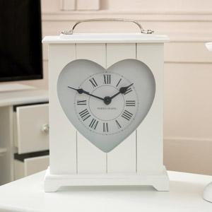 White Heart Wooden Mantel Clock