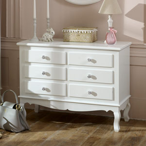 Large Ornate White 6 Drawer Chest of Drawers - Lila Range