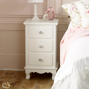 White 3 Drawer Bedside Chest - Lila Range