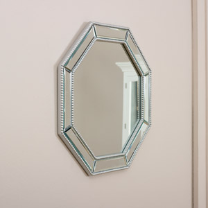 Octagonal Silver Beaded Wall Mirror 50cm x 50cm