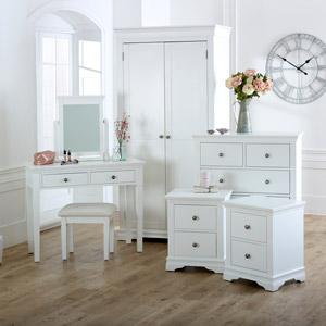 White Bedroom Set, Wardrobe, Chest of Drawers, Dressing Table & Bedside Tables - Newbury White Range