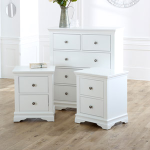 White Chest of Drawers & Pair of Bedside Tables - Newbury White Range