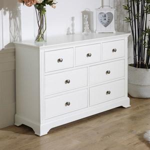 7 Drawer White Chest of Drawers - Davenport White Range