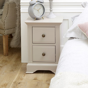 Slim Taupe-Grey Bedside Table - Davenport Taupe-Grey Range