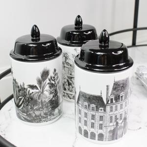 Set of 3 Monochrome Storage Jars