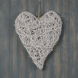 Large White Twig Wall Heart