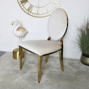 Gold & Ivory Velvet Dining Chair