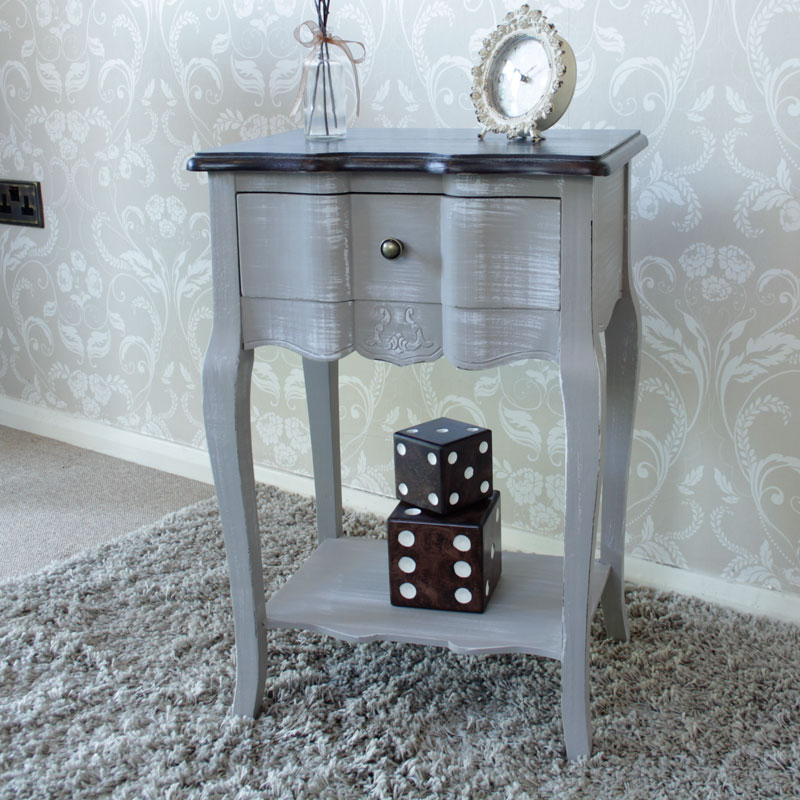 French Grey Range - Grey 1 Drawer Bedside Table