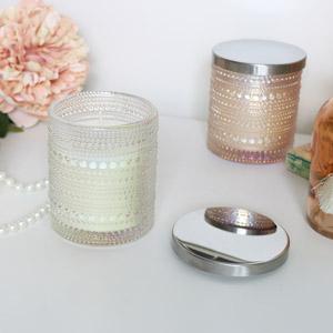 Cream Glass Candle Pot - Vanilla & Tweed