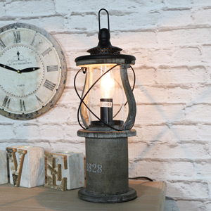 Wooden Miners lantern Table Lamp