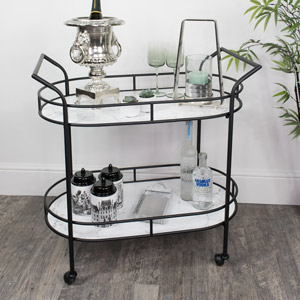Black & Marble Oval Bar Cart