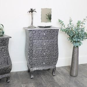 Silver Embossed 3 Drawer Bedside Table - Monique Range