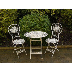 Antique White Oval Table and Two Chairs Bistro Set