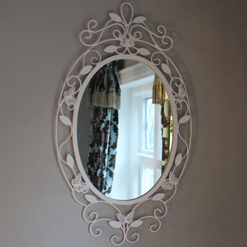 Cream Oval Butterfly Wall Mirror
