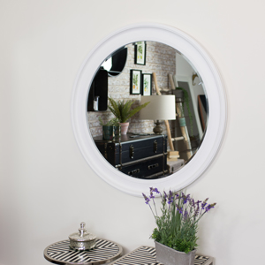 Extra Large Round Vintage White Wall Mirror 100cm x 100cm