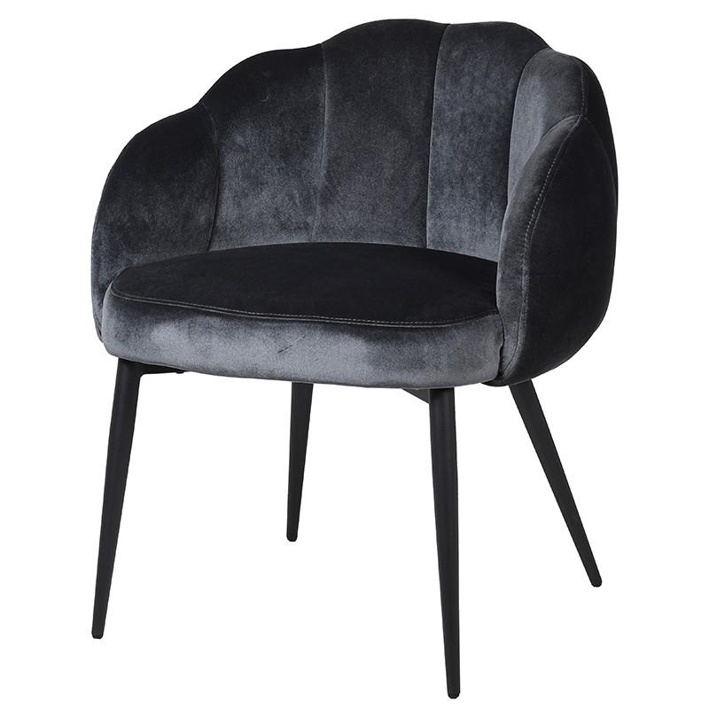 Grey Accent Chair - Velvet Upholstered Petal Design