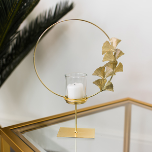 Round Gold Lotus Flower Candle Holder