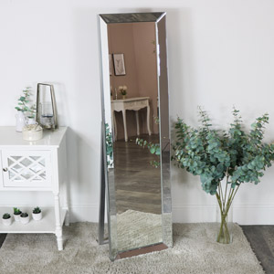 Tall Floor Standing Silver Mirror 46cm x 162cm