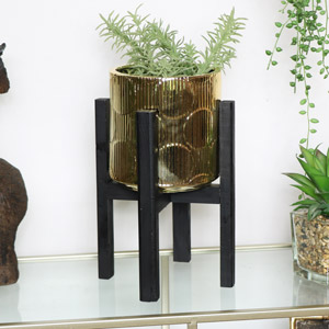 Metallic Gold Planter on Black Stand