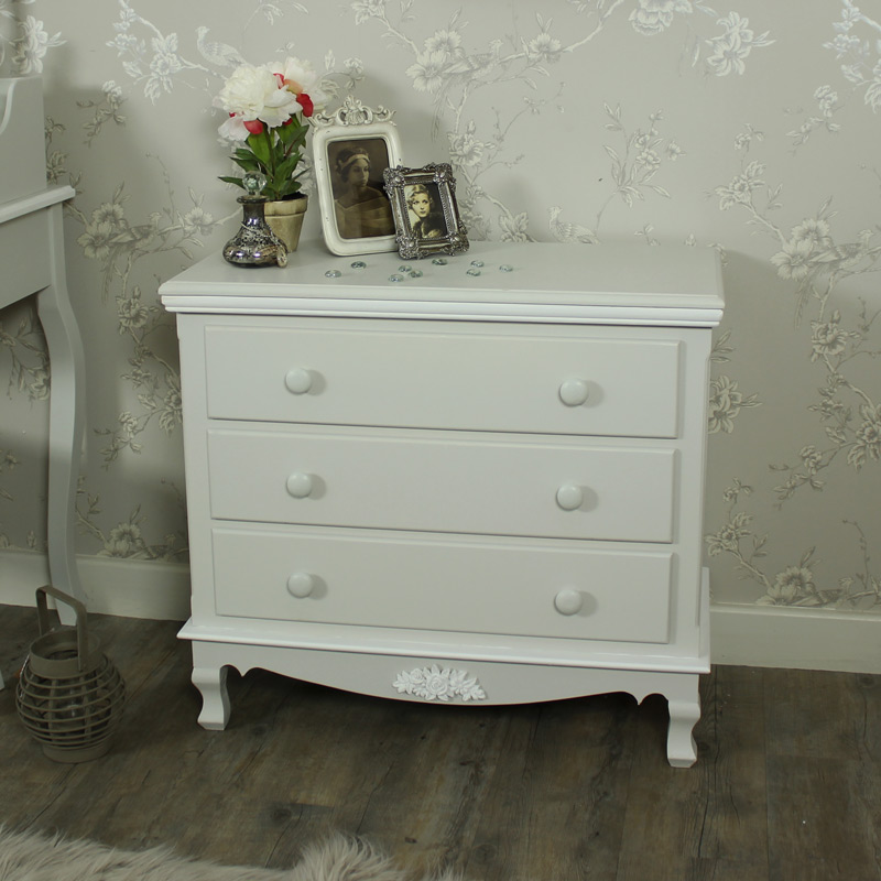 Grey 3 Drawer Chest of Drawers - Claudette Range