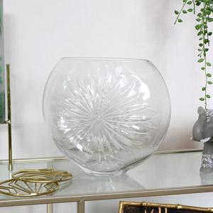 Clear Glass Daisy Vase