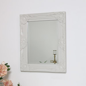 Ornate Taupe Wall Mirror with Bevelled Glass 52cm x 42cm