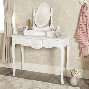 White Dressing Table and Vanity Mirror Set - Jolie Range