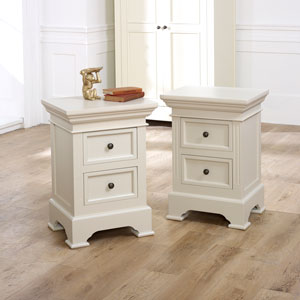 Pair of Grey 2 Drawer Bedside Chests - Daventry Taupe-Grey Range