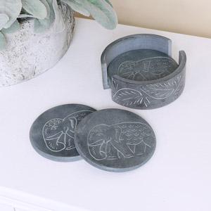 Grey Elephant Boho Soapstone Coasters