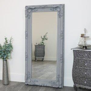 Large Ornate Grey Wall / Floor / Leaner Mirror 78cm x 158cm