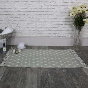 Cotton Grey and white Star Rug