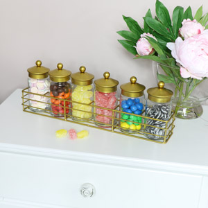 Glass Storage Jars in Gold Rack
