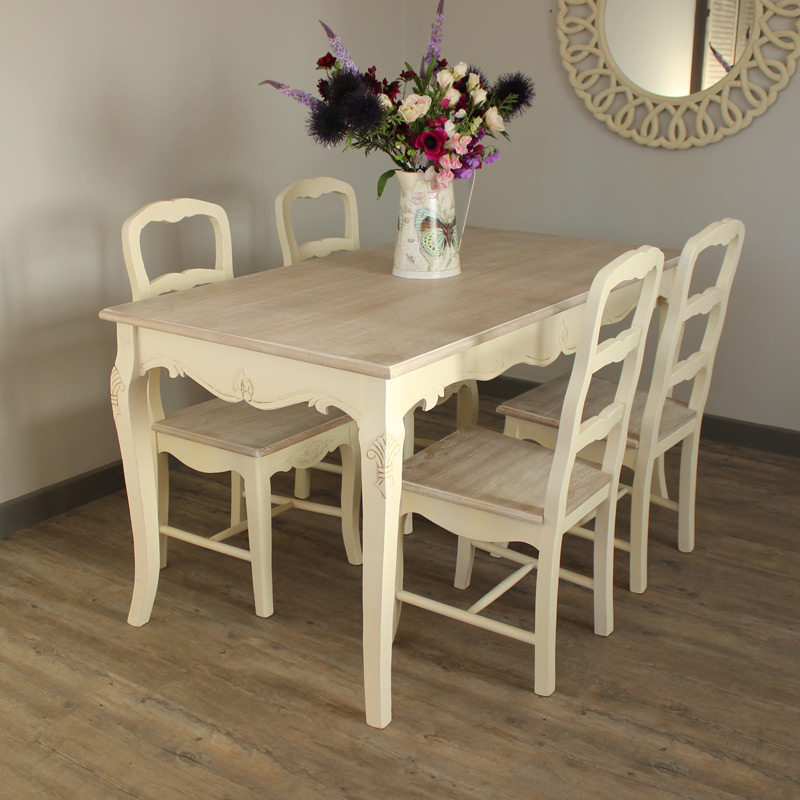 Country Ash Range - Dining Room Set, Cream Large Dining Table and 4 chairs