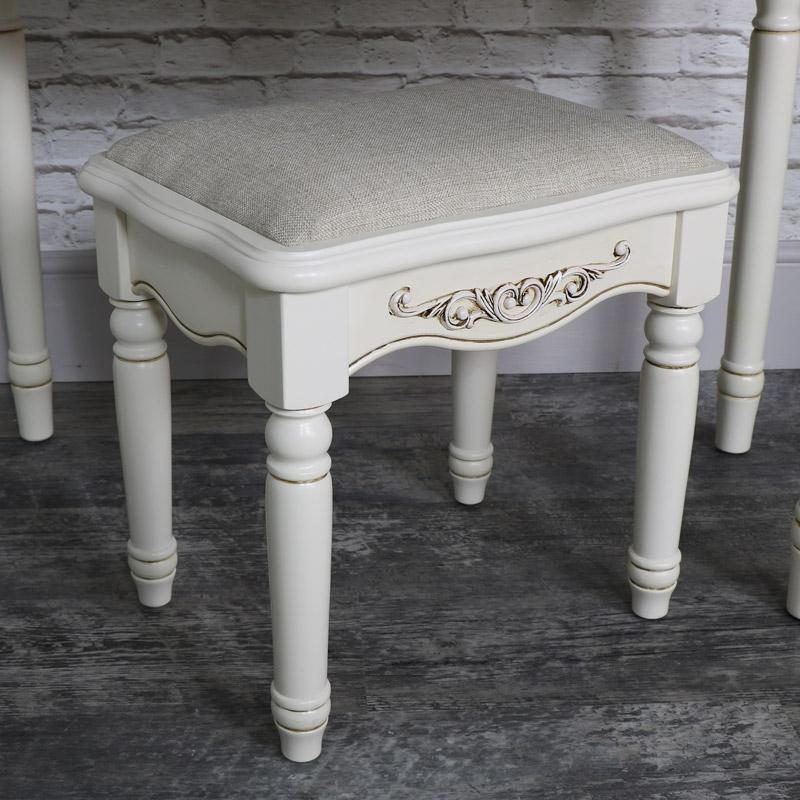 Ornate Antique Cream Cushioned Dressing Table Stool - Adelise Range