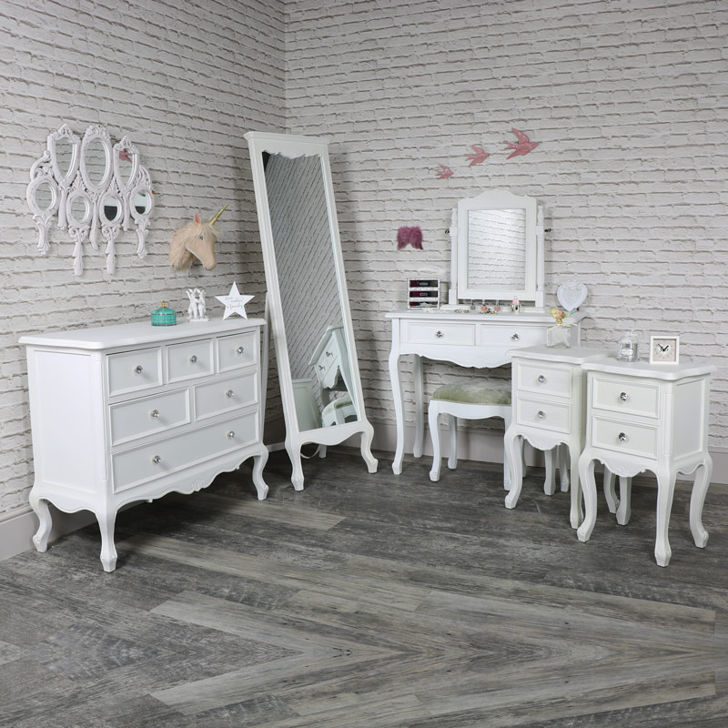 Elise White -Bedroom Set, Chest of Drawers, Cheval Mirror, Dressing Table, Mirror, Stool and 2 Bedside Tables