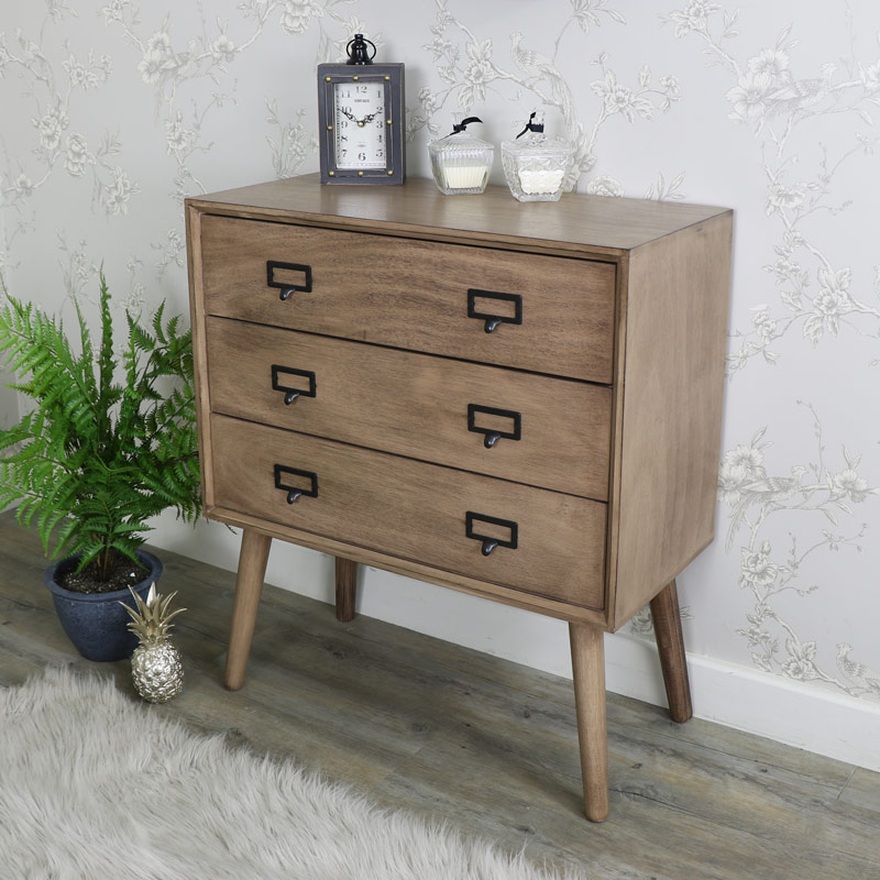 Retro Style Brown Wooden Chest of Drawers - Brixham Range