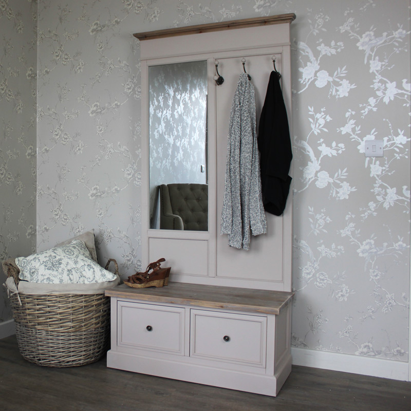 Cotswold Range - Coat Rack Bench with Mirror