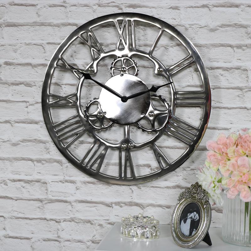 Silver Nickel Cog Skeleton Wall Clock