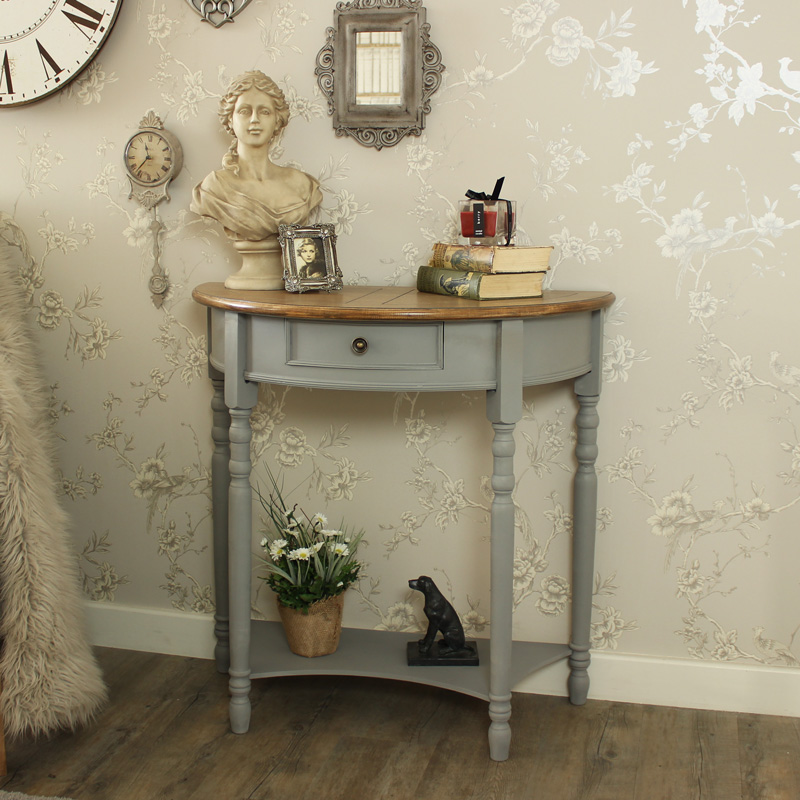 Superior Admiral Range   Half Moon Console Table With Drawer And Shelf