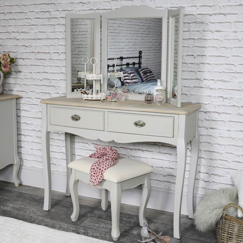 Vintage Grey Dressing Table, Triple Mirror and Stool Set - Albi Range