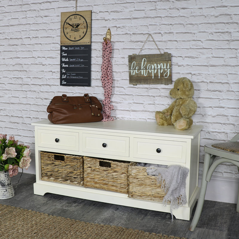 Chateau Range - Ivory Wicker Storage Bench