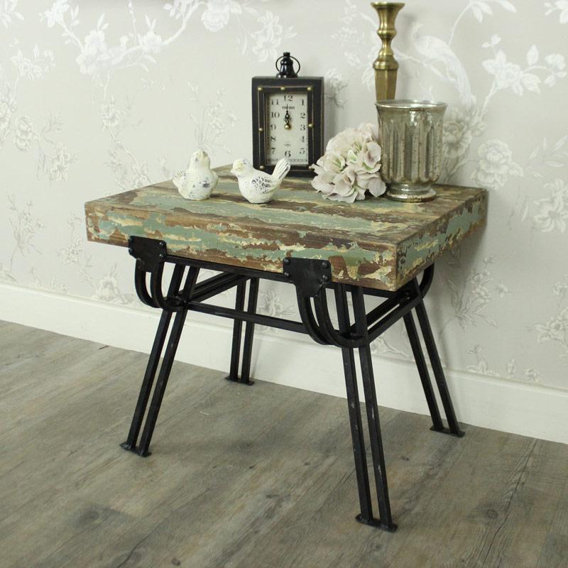 Wood & Metal Stool / Side Table